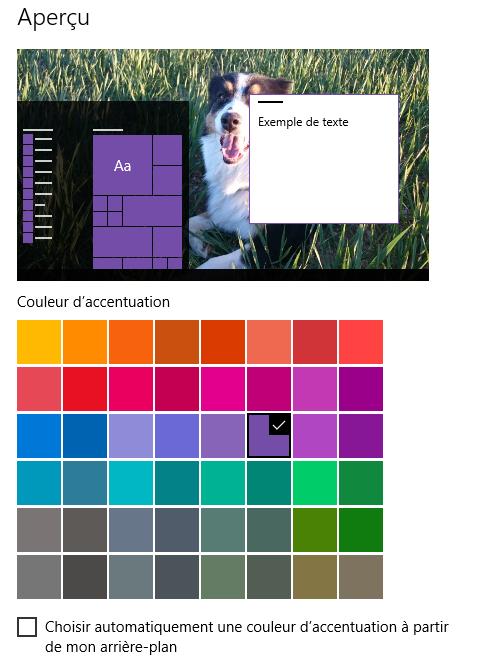 couleur fenetre windows 10