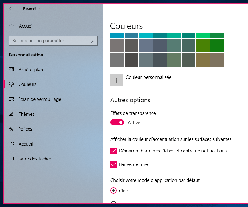 couleur fenetre windows 10